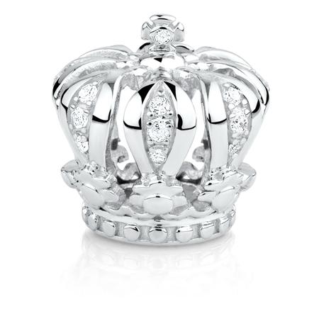Diamond Set & Sterling Silver Crown Charm