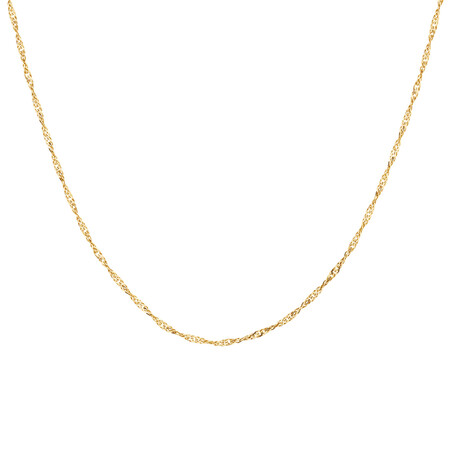 "55cm (22"") Hollow Singapore Chain in 10kt Yellow Gold"