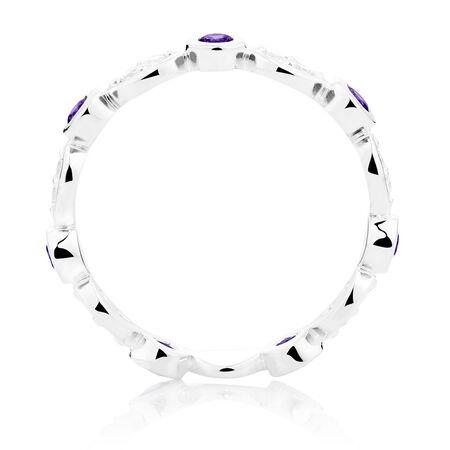 White & Purple Cubic Zirconia Stack Ring