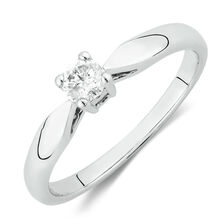 Solitaire Promise Ring with a 1/5 Carat Diamond in 10kt White Gold