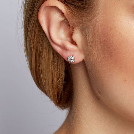 Cluster Stud Earrings with 1/2 Carat TW of Diamonds in 10kt White Gold