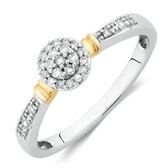 Promise Ring with Diamonds in 10kt White & Yellow Gold