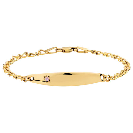 """16cm (6"""") Baby Identity Bracelet with a Pink Cubic Zirconia in 10kt Yellow Gold"""