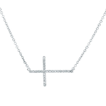 Cross Pendant with 1/10 Carat TW of Diamonds in Sterling Silver