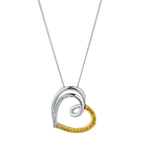 City Lights Pendant with 1/5 Carat TW of Enhanced Yellow Diamonds in Sterling Silver