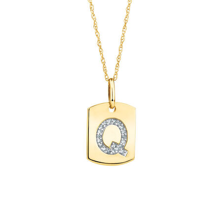"Q"" Initial Rectangular Pendant With Diamonds In 10kt Yellow Gold"