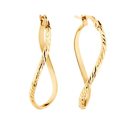 Patterned Twist Earrings in 10kt Yellow Gold