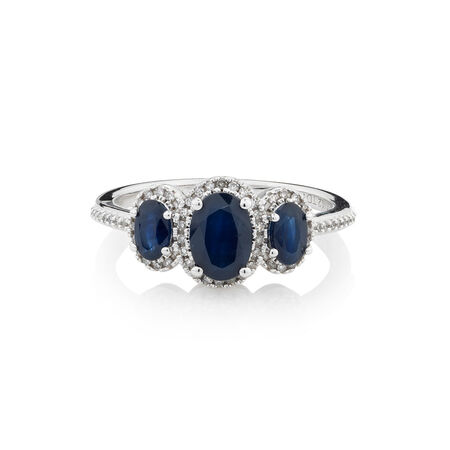Online Exclusive - Ring with 0.12 Carat TW of Diamonds & Sapphire in 10kt White Gold