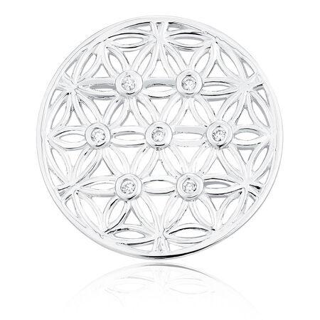 Sterling Silver Flower Pattern Coin Locket Insert