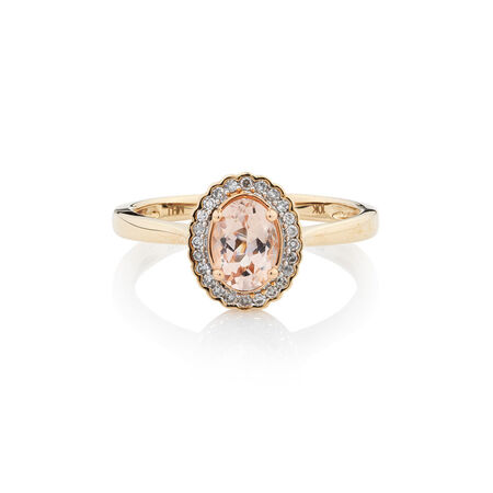 Online Exclusive - Ring with Diamonds & Morganite in 10kt Yellow Gold