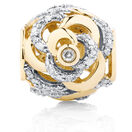 Diamond Set Rose Charm in 10kt Yellow Gold