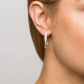 Hoop Earrings with 1 Carat TW of Diamonds in 10kt Yellow Gold