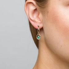 Drop Earrings with Created Emerald & Diamonds in 10kt Yellow & White Gold