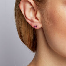 Stud Earrings with Created Pink Sapphires in 10kt White Gold