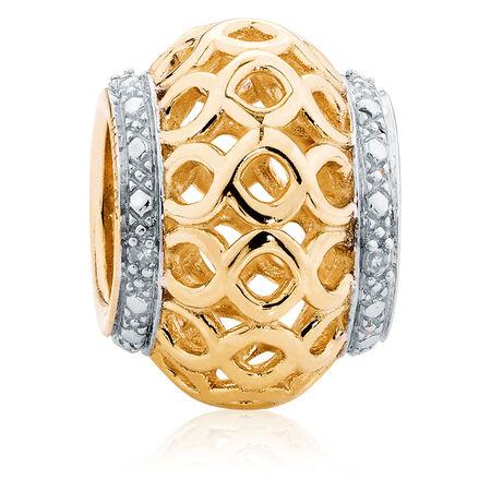 Diamond Set, 10kt Yellow Gold Charm