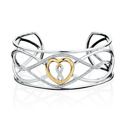 Infinitas Cuff with 1/2 Carat TW Diamonds in 10kt Yellow Gold & Sterling Silver