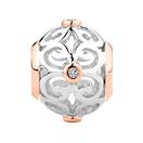 Diamond Set, Sterling Silver & 10kt Rose Gold Filigree Charm