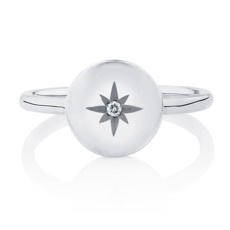 Star Mini Signet Ring With Diamond In Sterling SilverStar Mini Signet Ring With Diamond In Sterling SilverStar Mini Signet Ring With Diamond In Sterling Silver