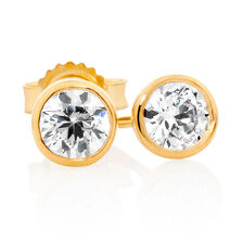 Stud Earrings with Cubic Zirconia in 10kt Yellow Gold