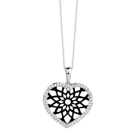 Heart Pendant with 1/5 Carat TW of Diamonds in 10kt White Gold