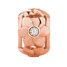Diamond Set 10kt Rose Gold Flower Charm