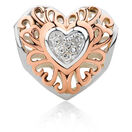 Diamond Set Heart Charm in 10kt Rose Gold & Sterling Silver