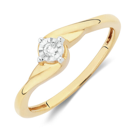 Solitaire Promise Ring with a Diamond in 10kt Yellow Gold