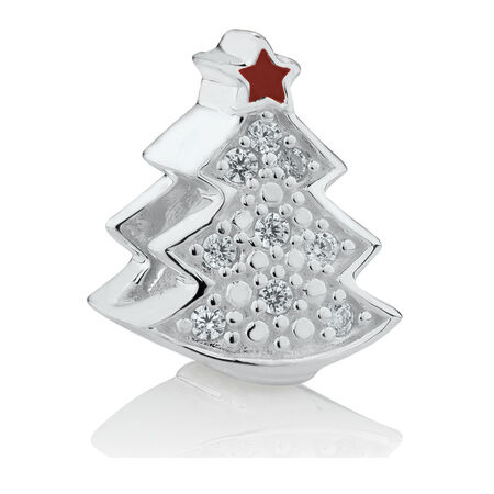 Christmas Tree Charm with Cubic Zirconia in Sterling Silver