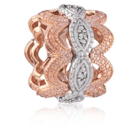 Diamond Set, 10kt Rose Gold & Sterling Silver Art Deco Charm