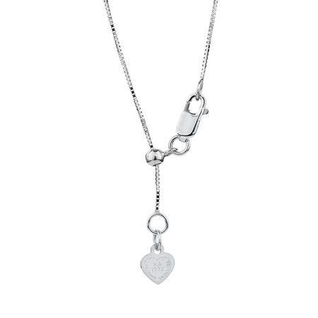 """50cm (20"""") Adjustable Box Chain in 10kt White Gold"""
