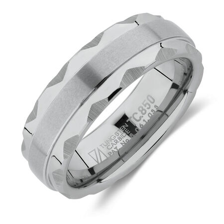 Men's 7mm Ring in White Tungsten