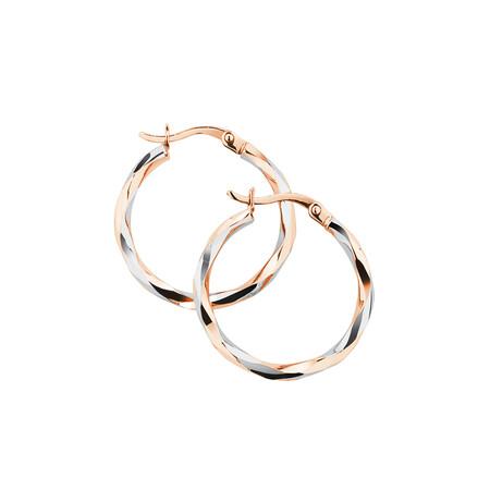 Twist Hoop Earrings in 10kt Rose & White Gold