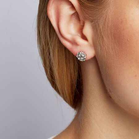 Cluster Stud Earrings with 1 Carat TW of Diamonds in 10kt White Gold