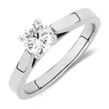 Online Exclusive - Certified Solitaire Engagement Ring with a 0.69 Carat Diamond in 14kt White Gold