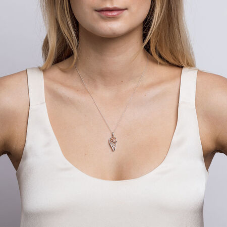 Infinitas Pendant with 1/20 Carat TW of Diamonds in 10kt Rose Gold & Sterling Silver