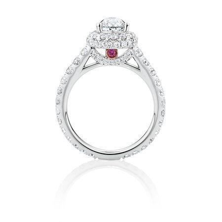 Michael Hill Designer GrandAllegro Engagement Ring with 2 Carat TW of Diamonds in 14kt White & Rose Gold