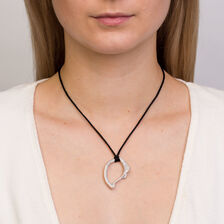 Spirits Bay Hollow Pendant with 1 1/2 Carat TW of Diamonds in 14kt White Gold