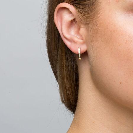 Hoop Earrings with 1/10 Carat TW of Diamonds in 10kt Yellow Gold