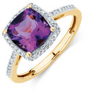 Ring with Amethyst & 1/6 Carat TW of Diamonds in 10kt Yellow Gold