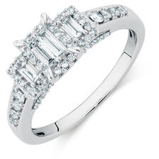 Three Stone Engagement Ring with a 1/2 Carat TW of Diamonds in 10kt White Gold