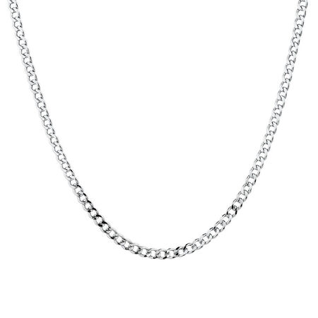 "50cm (20"") Hollow Curb Chain in 10kt White Gold"