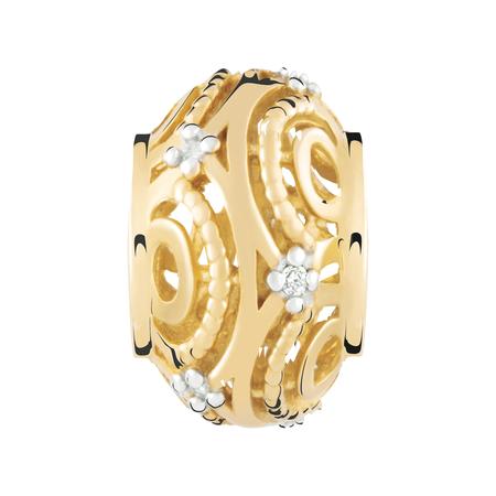 Diamond Set & 10kt Yellow Gold Charm