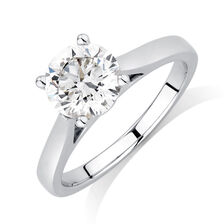 Certified Solitaire Engagement Ring with a 1 1/2 Carat Diamond in 14kt White Gold