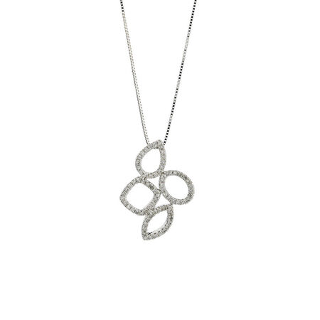 Online Exclusive - Geometric Pendant with 1/5 Carat TW of Diamonds in 10kt White Gold