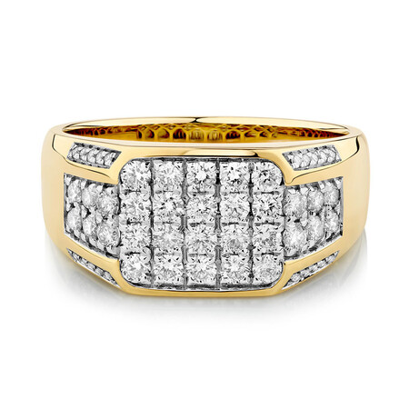 Men's Ring with 1 Carat TW of Diamonds in 10kt White & Yellow Gold
