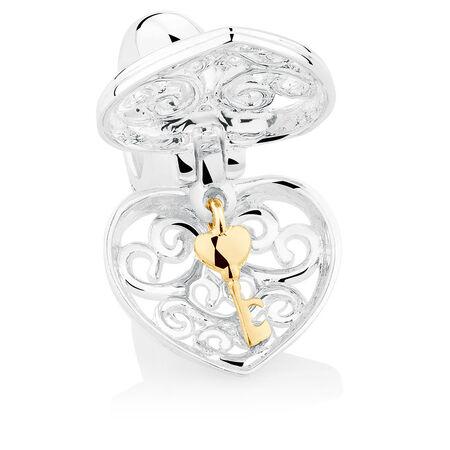 Heart Locket Dangle Charm in Sterling Silver & 10kt Yellow Gold