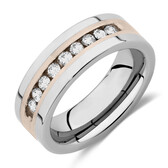 Men's Ring with 1/2 Carat TW of Diamonds in Gray Tungsten & Sterling Silver