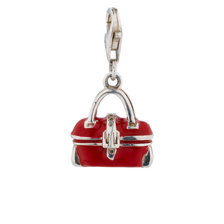 Online Exclusive - Bag Charm with Red Enamel in Sterling Silver