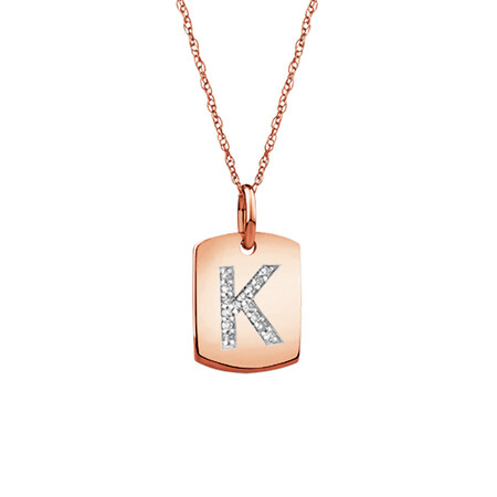 """K"" Initial Rectangular Pendant With Diamonds In 10ct Rose Gold"