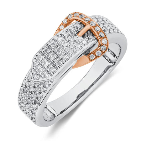 Buckle Ring with 1/4 Carat TW of Diamonds in 10kt White & Rose Gold